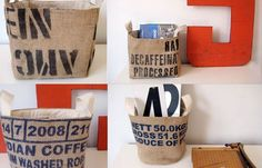 Burlap Coffee Sack Baskets  (projects, crafts, DIY, do it yourself, interior design, home decor, fun, creative, uses, use, ideas, inspiration, 3R's, reduce, reuse, recycle, used, upcycle, repurpose, handmade, homemade, materials, bag)