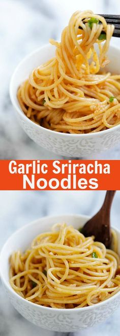 Garlic Sriracha Noodles - easy and crazy delicious garlic noodles with Sriracha. Savory, buttery with a tint of heat. Dinner is done in 15 mins | rasamalaysia.com