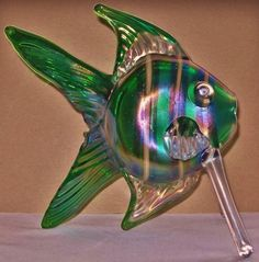 MIND BLOWING Big SIGNED McKeever IRIDESCENT Glass FISH Sculpture MILLEFIORI Eyes