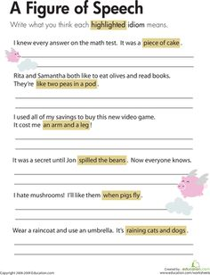 Worksheets: Idioms: A Figure of Speech