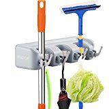 #4: Mop and Broom Holder Kingtop Garage Storage Rack Hooks Wall Mounted Organizer for Home Garden Tool Shelving (3 position 4 hooks)