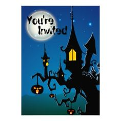 Personalized Spooky Haunted Tree House Halloween Party Invitations