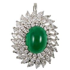Diamond Emerald Platinum Ring/Pendant   See more rare vintage Cocktail Rings at https://www.1stdibs.com/jewelry/rings/cocktail-rings