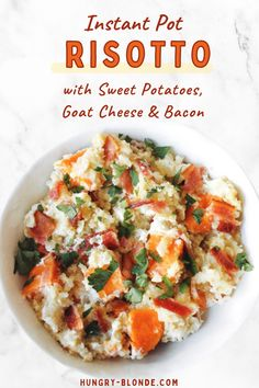 Is there anything more comforting than a bowl of creamy, decadent risotto? You'll love this delicious no-stir Sweet Potato Goat Cheese Risotto that is so easy to make in the instant pot! This gluten free recipe is the perfect easy dinner recipe with just 3 main ingredients, and it's done in just 20 minutes, then top with sweet potato, bacon, and goat cheese. #glutenfreerecipes Goats Cheese Risotto, Goat Cheese, Easy Dinner Recipes, Summer Recipes, Instant Pot, Dinner Bell, Breakfast For Dinner, Food 52, Tasty Dishes