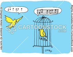 A bird's song is trapped in a musical stave. by Cordell, Tim