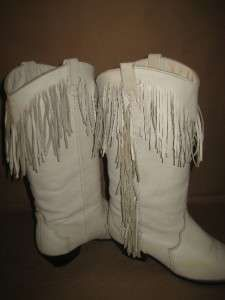 vintage white leather fringe cowgirl boot made by by VintageTins ...