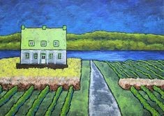 """House On Île d'Orléans (ORIGINAL ACRYLIC PAINTING) 5"""" x 7"""" by Mike Kraus - art quebec canada france french family history dna ancestry farms"""