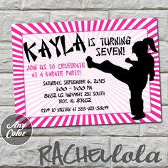 Karate Girl invitation do-it-yourself digital print by Rachellola