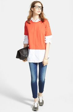 Madewell Crewneck Tee, Button Front Shirt & Skinny Jeans  available at #Nordstrom