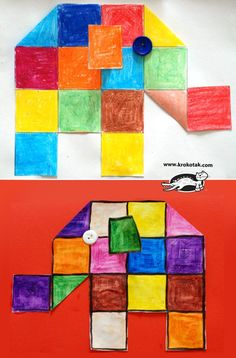 Squared elephants - would work with Elmer the Elephant primary colors? Art For Kids, Crafts For Kids, Arts And Crafts, Elmer The Elephants, Elephant Crafts, Elephant Elephant, Montessori Art, Preschool Art, Animal Crafts