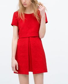 Image 1 of ASYMMETRICAL SKIRT JACQUARD DRESS from Zara