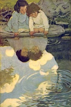 enfants au bord de l'eau, illustration Jessie Willcox Smith