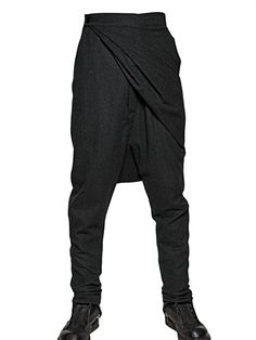 RICK OWENS - MELANGE CREPE WOOL WRAP TROUSERS - LUISAVIAROMA - LUXURY SHOPPING WORLDWIDE SHIPPING - FLORENCE