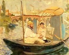 Texto sobre o Impressionismo. Monet em seu barco-atelier, retratado por Manet.