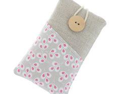 Bolsa acolchoada em linho e algodão para iPhone by TeresaNogueira