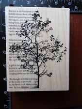 new Large TREE POEM SCRIPT rubber stamp STAMPENDOUS