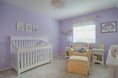 enxoval de bebê lilás e amarelo