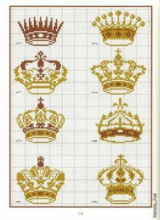 Короны - цветные схемы вышивки крестом