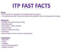 ITP facts. Oh the joys of having a blood disorder