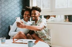 Happy black couple taking a selfie at home with a mobile | premium image by rawpixel.com / Felix Happy Black, Black Couples, Boyfriend, Take That, African, Selfie, Lifestyle, Couple Photos, Island Blue