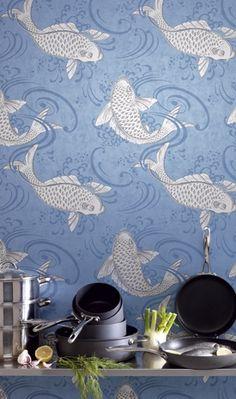 Osborne & Little Folia Derwent Blue & White from Wallpaper Sales UK