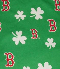 Boston Red Sox Irish shamrocks cotton fabric remnant material sports fan crafts 4 pc. $16.00, via Etsy.