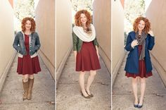 dress three ways! I love them all, but especially the blue coat and bugandy dress, colors are very pretty together.