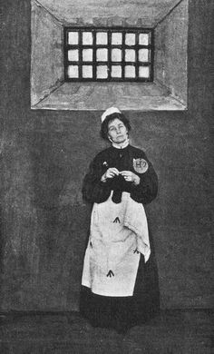 "Emmeline Pankhurst in prison, wearing prison uniform. ""Like a human being in the process of being turned into a wild beast"" - E.P quote on her first incarceration."