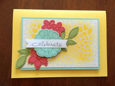 Celebrate Floral Card • Daffodil Delight base 8 1/4 x 5 3/4 • Pool Party 4 3/4 x 3 1/8 • Irresistibly Floral SDSP 4 1/2 x 2 7/8 inked with Daffodil Delight • Flowers: Falling Flowers stamp set, Pool Party card and ink, Strawberry Slush card and ink, Pear Pizzazz card and ink, May Flowers Framelits • Sentiment from Endless Birthday Wishes in Basic Grey • Stampin' Up!  Copied from the Stampin' Up! catalogue