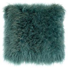 Khan Teal Faux-Fur Pillow.  Remarkably authentic-looking faux Tibetan lamb pillow.  Removable zippered cover made of acrylic.  Polyester insert.  Machine wash;…