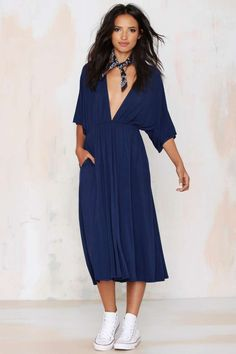 Spin Me Round Plunging Knit Dress - Navy - Midi + Maxi | Day | Basic
