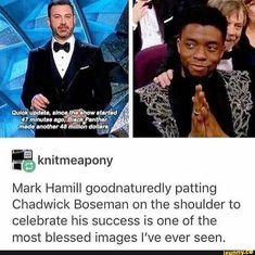 Mark Hamill goodnaturedly patting Chadwick Boseman on the shoulder to celebrate his success is one of the most blessed images I've ever seen. Marvel Jokes, Marvel Funny, Marvel Dc Comics, Avengers Memes, Marvel Universe, X Men, Loki Thor, Movies And Series, Dc Memes