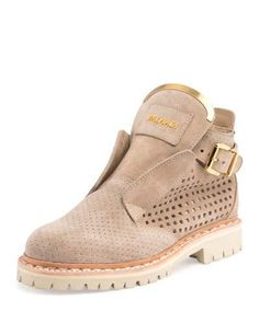 BALMAIN KING PERFORATED SUEDE BOOTIE, BEIGE/NUDE. #balmain #shoes #boots