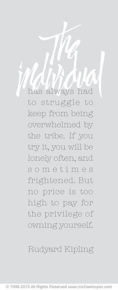 The Individual, Rudyard Kipling, Calligraphy Art Plaques, Inspirational Gifts