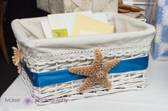 beach bridal shower ideas - card basket