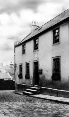 Old photograph of the house of Robert Burns in Dumfries, Scotland.