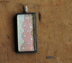 SALE Watercolor Kelp pendant in Salmon by jibbyandjuna on Etsy,