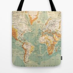 World map tote bag by bagolo facebookbagolohandmade world map tote bag by bagolo facebookbagolohandmade backpacks pinterest tote bag bag and backpacks gumiabroncs Choice Image