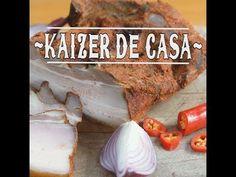 Cum se prepara kaizer afumat acasa. Reteta culinara de kaizer de casa afumat cu mirodenii preparat acasa. Slanina cu carne facuta kaizer de casa afumat cu usturoi. Charcuterie, Pork
