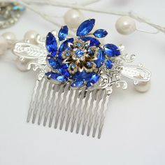 Jeweled Hair Comb Made with Vintage Jewelry Wedding by KDBridal