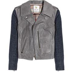 MiH Jeans Denim-sleeved leather biker jacket ($410) ❤ liked on Polyvore