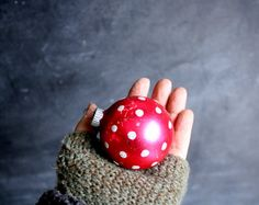 Vintage Hot Pink Silvered Glass Ornament, Silver Glitter Polka Dots