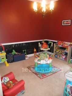 chalkboard wall ideas playroom - color blacking paint at it's best, bold color on top, black chalkboard paint on the bottom, and nice molding in the middle