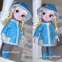 Set include: rain hat, coat, scarf, tightl and rain boots. 4 piece outfit for your 16 inch Disney Animator Doll. This item is already made and is