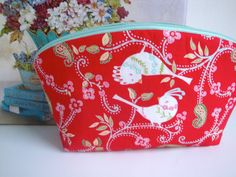 4eca503365 Handmade Cotton - Make Up Bag - birds - flowers - women - teen girls -