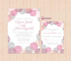 Flower-works Wedding Invitation and RSVP Set ← Printable Invitation Kits