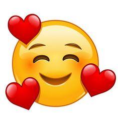 Vektor: Smiling emoticon with 3 hearts emoji wallpaper heart Smiley Emoji, Kiss Emoji, Images Emoji, Emoji Pictures, Funny Emoji Faces, Emoticon Faces, Animated Emoticons, Funny Emoticons, Emoticons Text