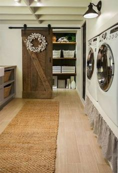 Cozy cottage farmhouse style dwelling in the california foothills laundry room design, laundry room storage Rustic Laundry Rooms, Farmhouse Laundry Room, Basement Laundry, Laundry Room Storage, Storage Area, Laundry Doors, Garage Laundry, Laundry Shelves, Laundry Area