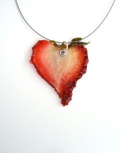 """Real Strawberry Necklace - """"Real Fruit Jewelry"""" via Etsy. see more on my """"Real Fruit Jewelry"""" board! Heart Shaped Necklace, Heart Earrings, Strawberry Hearts, Strawberry Fields Forever, Strawberries And Cream, Schmuck Design, Resin Jewelry, Jewelery, Fashion Jewelry"""