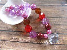 Chunky bubblegum necklace, Easter necklace, Easter basket gift,  pink red brown pearl by PaigeandPenelope, $16.00